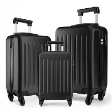K1872L-KONO ABS HARD SHELL SUITCASE 3 PIECES SET WITH SPINNING WHEELS LUGGAGE BLACK
