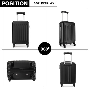 K1872L-KONO ABS HARD SHELL 28 INCH SUITCASE WITH SPINNING WHEELS LUGGAGE BLACK