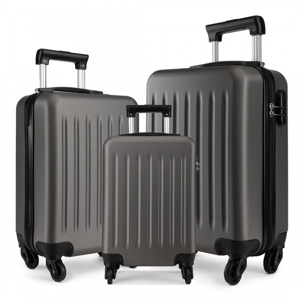 K1872L-KONO ABS HARD SHELL SUITCASE 3 PIECES SET WITH SPINNING WHEELS LUGGAGE GREY