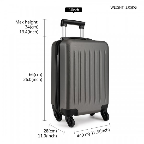 K1872L-KONO ABS HARD SHELL 24 INCH SUITCASE WITH SPINNING WHEELS LUGGAGE GREY