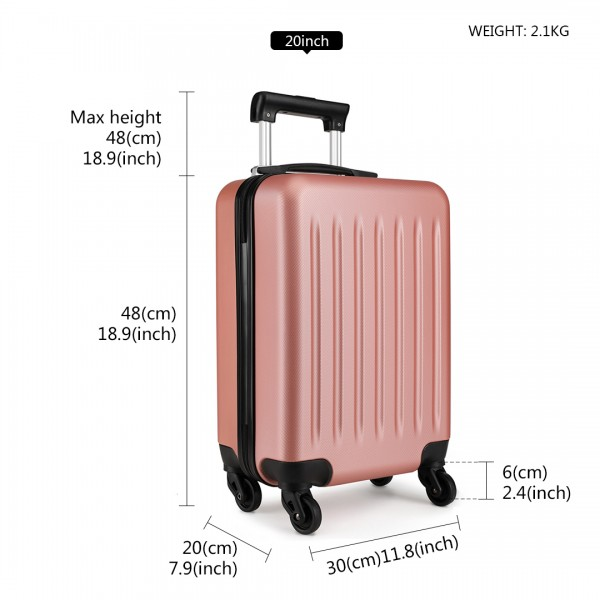 K1872L-KONO ABS HARD SHELL SUITCASE 3 PIECES SET WITH SPINNING WHEELS LUGGAGE NUDE