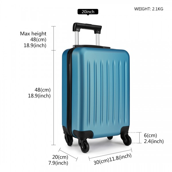 K1872L-KONO ABS HARD SHELL SUITCASE 3 PIECES SET WITH SPINNING WHEELS LUGGAGE NAVY