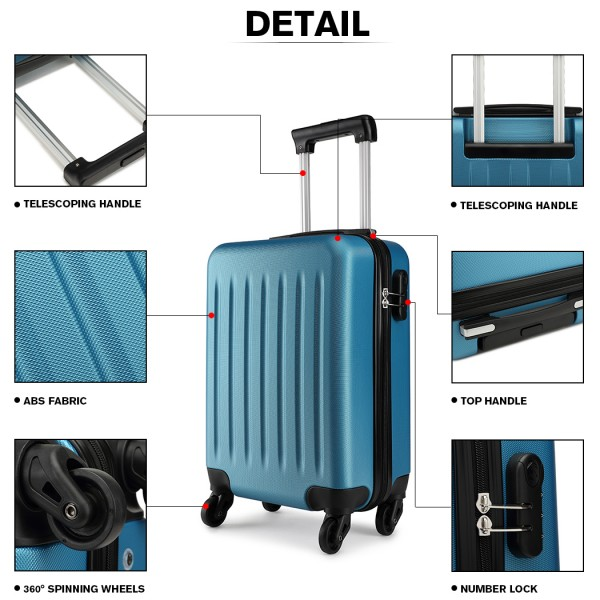K1872L-KONO ABS HARD SHELL 28 INCH SUITCASE WITH SPINNING WHEELS LUGGAGE NAVY