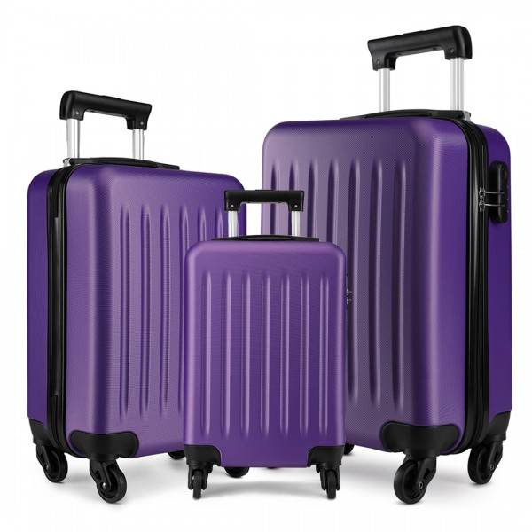 K1872L-KONO ABS HARD SHELL SUITCASE 3 PIECES SET WITH SPINNING WHEELS LUGGAGE PURPLE