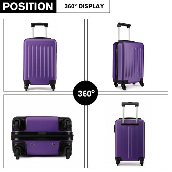 K1872L-KONO ABS HARD SHELL 28 INCH SUITCASE WITH SPINNING WHEELS LUGGAGE PURPLE