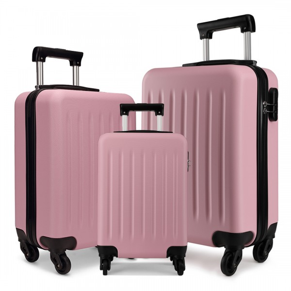 K1872L-KONO ABS HARD SHELL SUITCASE 3 PIECES SET WITH SPINNING WHEELS LUGGAGE PINK