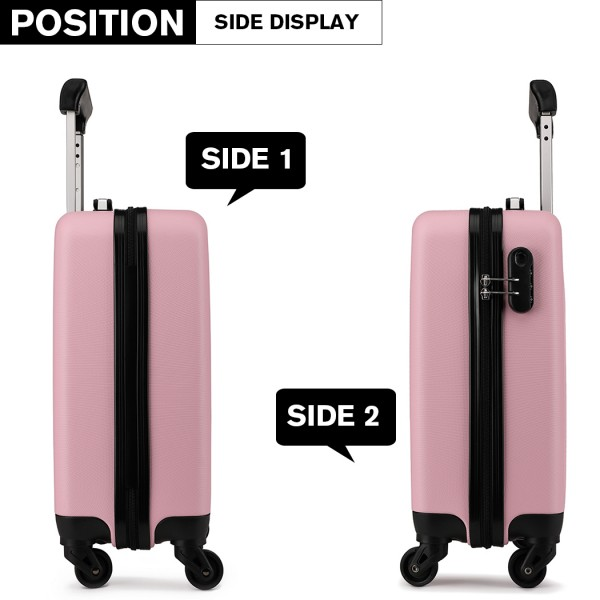 K1872L - KONO CABIN SIZE LUGGAGE - SUITABLE FOR ALL AIRLINES - PINK