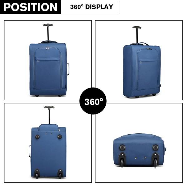 K1873-2-KONO CABIN SIZE SOFT SHELL HAND LUGGAGE-BLUE