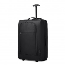 K1873-2-KONO CABIN SIZE SOFT SHELL HAND LUGGAGE-BLACK