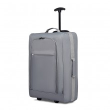 K1873-2-KONO CABIN SIZE SOFT SHELL HAND LUGGAGE-GREY