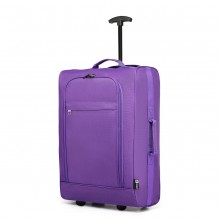 K1873-2-KONO CABIN SIZE SOFT SHELL HAND LUGGAGE-PURPLE