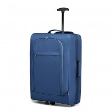 K1873-KONO 20 INCH SOFT SHELL 600D POLYESTER HAND LUGGAGE SUITCASE BLUE