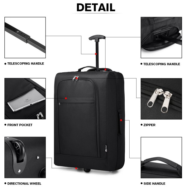 K1873-KONO 20 INCH SOFT SHELL 600D POLYESTER HAND LUGGAGE SUITCASE BLACK