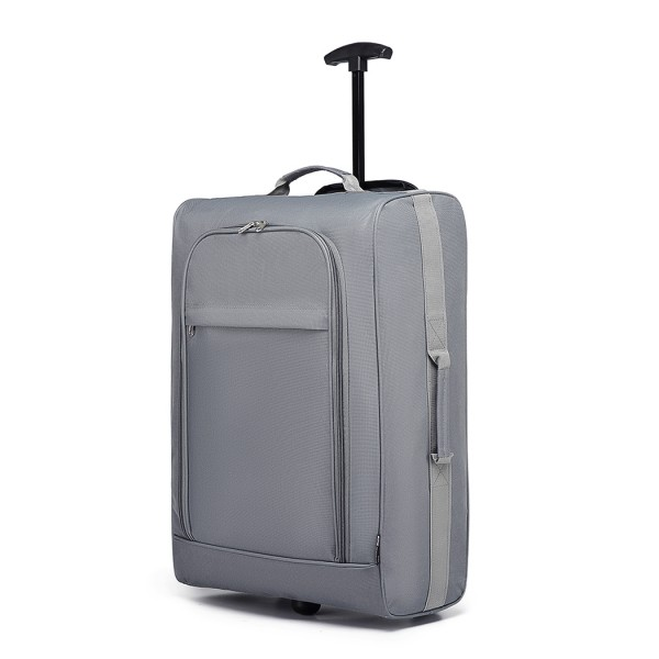 K1873-KONO 20 INCH SOFT SHELL 600D POLYESTER HAND LUGGAGE SUITCASE GREY