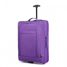 K1873-KONO 20 INCH SOFT SHELL 600D POLYESTER HAND LUGGAGE SUITCASE PURPLE