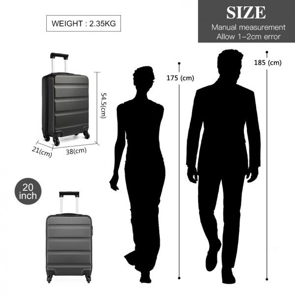 K1991-Kono Horizontal Design ABS Hard Shell Luggage 20 Inch Suitcase Grey