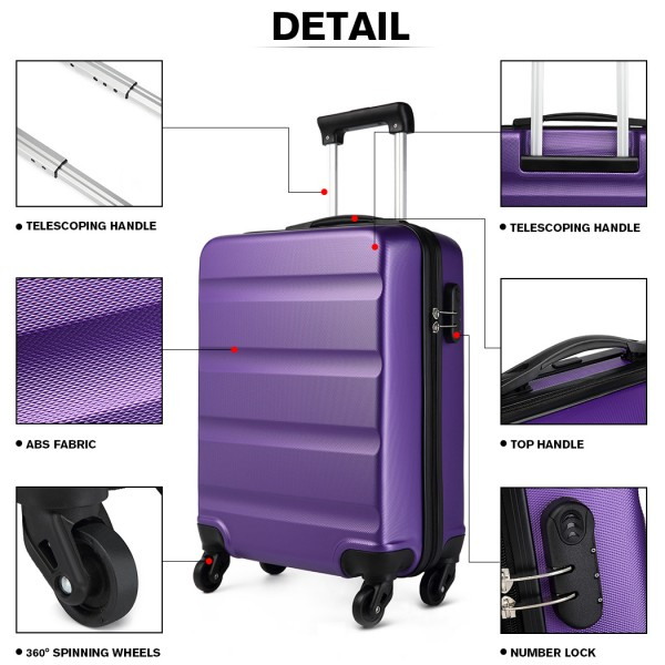 K1991 - Kono Horizontal Design ABS Hard Shell Luggage 20 Inch Suitcase - Purple