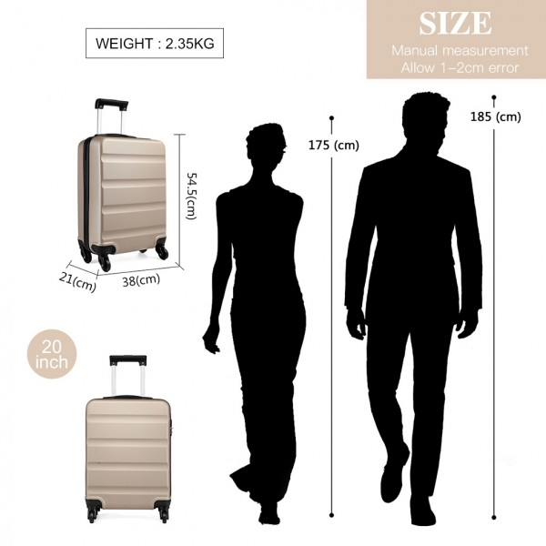 K1991-Kono Horizontal Design ABS Hard Shell Luggage 20 Inch Suitcase Gold