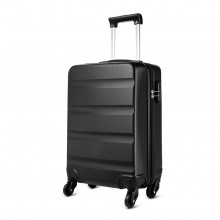 K1991L - KONO HORIZONTAL DESIGN ABS HARD SHELL LUGGAGE 20 INCH SUITCASE - BLACK