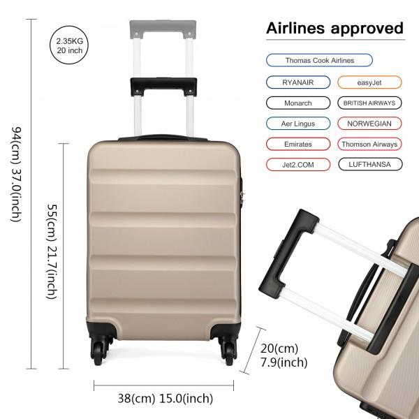K1991 - Kono Horizontal Design ABS Hard Shell Luggage 20 Inch Suitcase - Gold