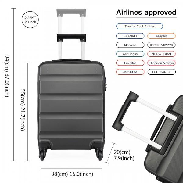 K1991 - Kono Horizontal Design ABS Hard Shell Luggage 20 Inch Suitcase - Grey