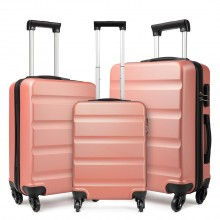 "K1991L - KONO 20-24-28"" HORIZONTAL DESIGN ABS HARD SHELL LUGGAGE SET - NUDE"