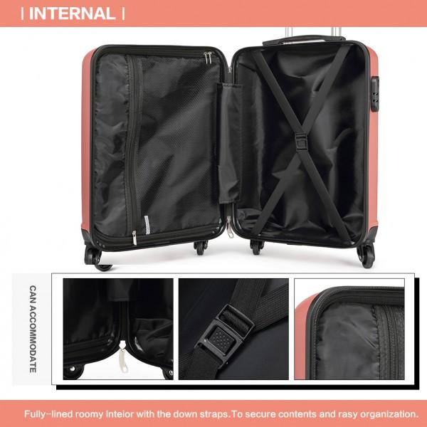 K1991 - Kono Horizontal Design ABS Hard Shell Luggage 20 Inch Suitcase - Nude