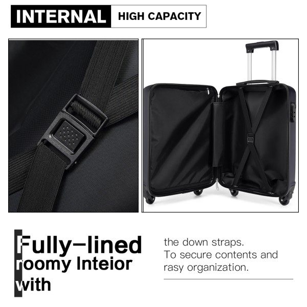 K1991-Kono Horizontal Design ABS Hard Shell Luggage 20 Inch Suitcase Navy