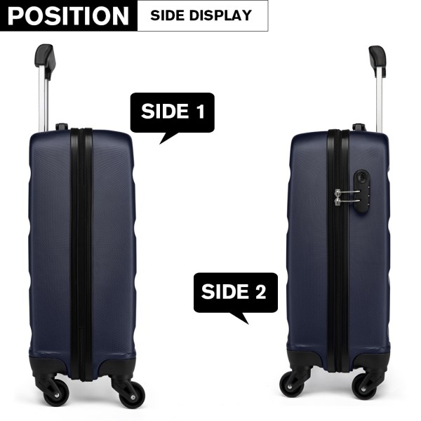 K1991-Kono Horizontal Design ABS Hard Shell Luggage 20 Inch Suitcase Navy