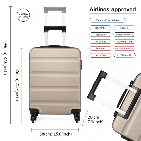 K1991-Kono Horizontal Design ABS Hard Shell Luggage 20 Inch Suitcase Gold