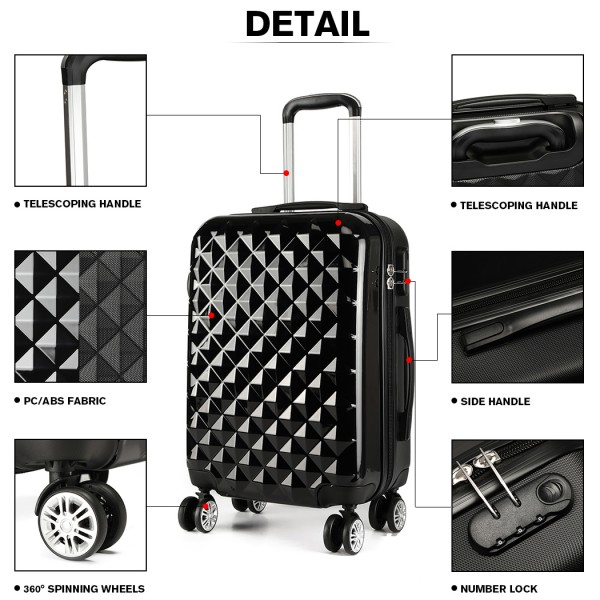 K1992 - Kono Multifaceted Diamond Pattern Hard Shell 20 Inch Suitcase - Black