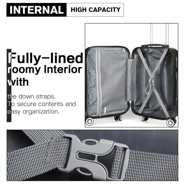 K1992 - Kono Multifaceted Diamond Pattern Hard Shell 20 Inch Suitcase - Black