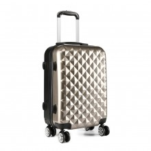 K1992 - Kono Multifaceted Diamond Pattern Hard Shell 20 Inch Suitcase - Gold