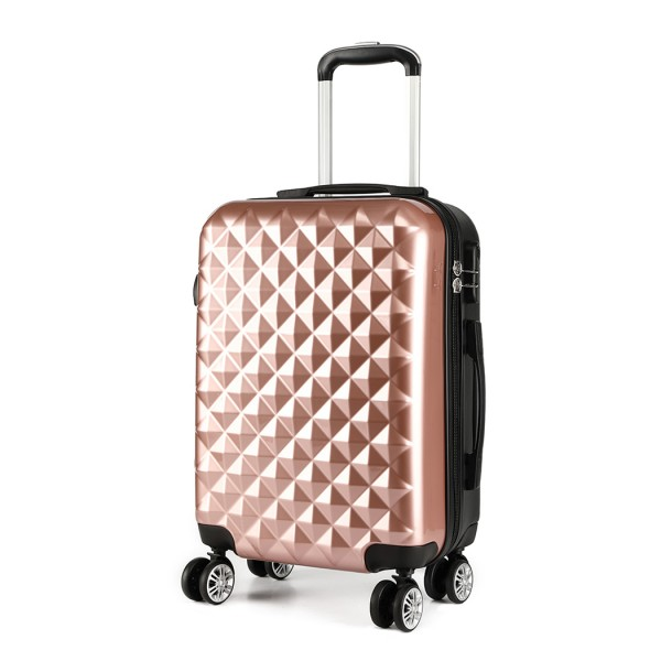 K1992 - Kono Multifaceted Diamond Pattern Hard Shell 20 Inch Suitcase - Nude (Rose Gold)