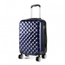 K1992 - Kono Multifaceted Diamond Pattern Hard Shell 20 Inch Suitcase - Navy