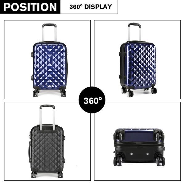 K1992 - Kono Multifaceted Diamond Pattern Hard Shell 20 Inch Suitcase - Navy