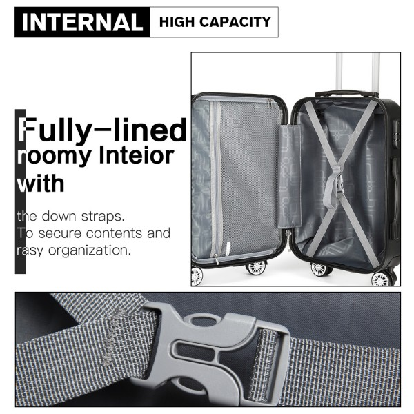 K1992 - Kono Multifaceted Diamond Pattern Hard Shell 20 Inch Suitcase - Silver