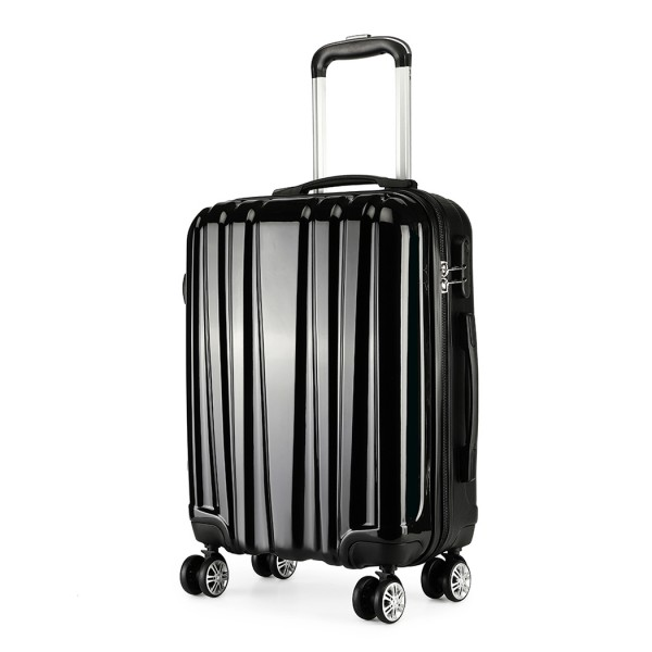 K1993 - Kono Metallic PC and ABS Hard Shell 20 Inch Suitcase - Black