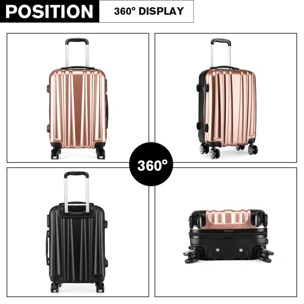 K1993 - Kono Metallic PC and ABS Hard Shell 20 Inch Suitcase - Nude (Rose Gold)