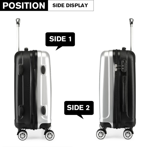 K1993 - Kono Metallic PC and ABS Hard Shell 20 Inch Suitcase - Silver