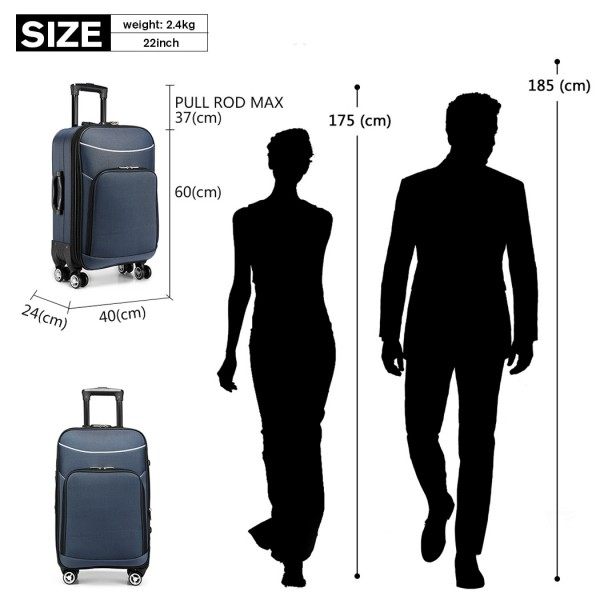 K1994-KONO SOFT SHELL WATERPROOF SUITCASE BLUE