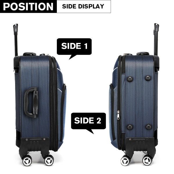 K1994 - KONO SOFT SHELL WATERPROOF SUITCASE - BLUE