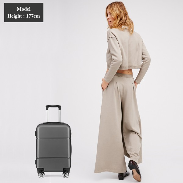 K1995 - KONO HARD SHELL ABS CARRY ON SUITCASE - GREY
