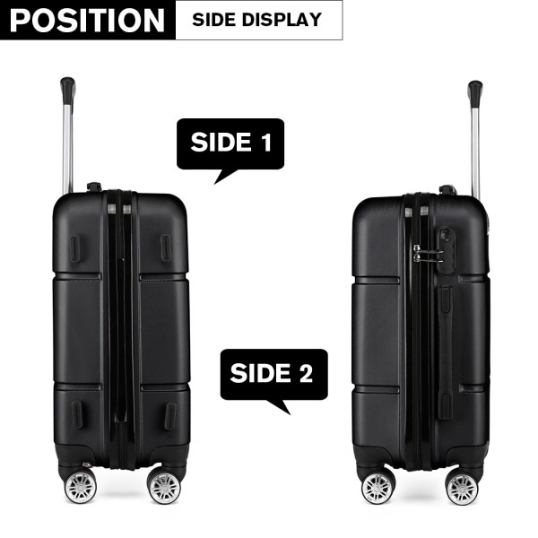 K1995-KONO HARD SHELL ABS CARRY ON SUITCASE BLACK