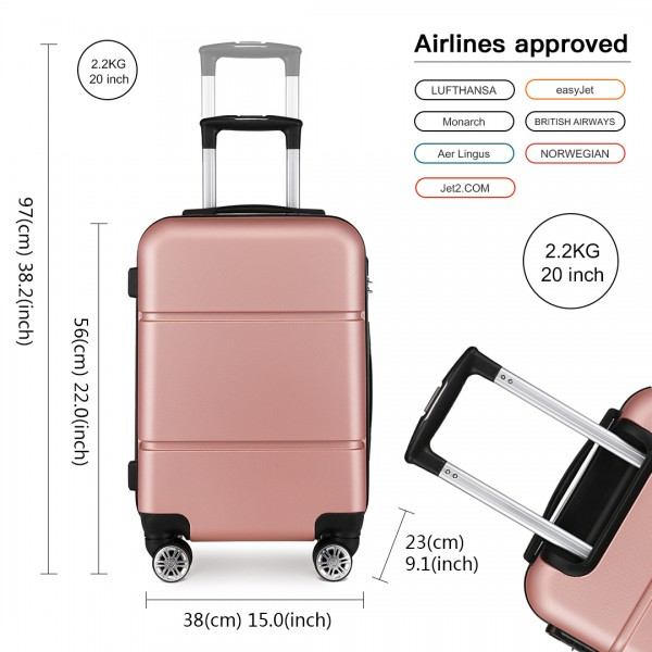 K1995 - KONO HARD SHELL ABS CARRY ON SUITCASE - NUDE