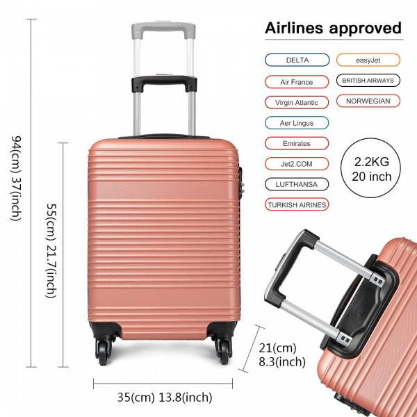 K1996L - KONO ABS HARD SHELL CARRY ON SUITCASE - NUDE