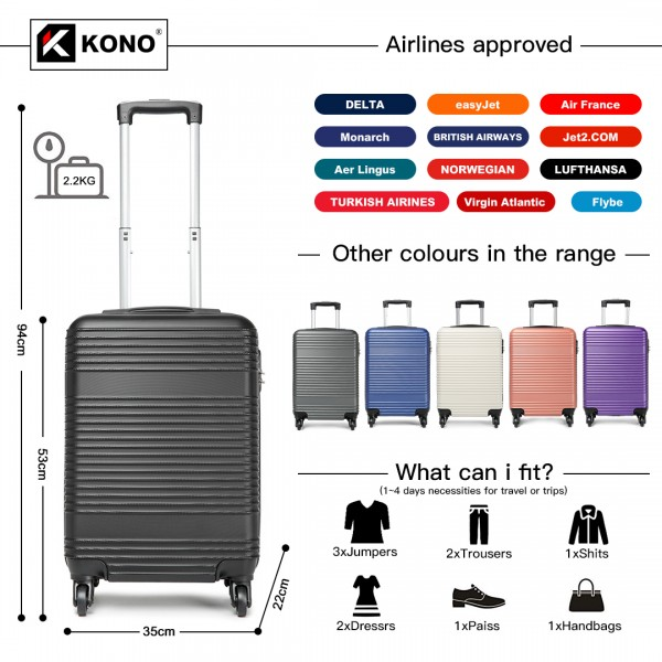 K1996 - KONO ABS HARD SHELL CARRY ON SUITCASE - BLACK