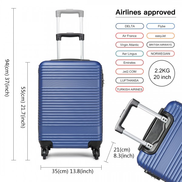 K1996 - KONO ABS HARD SHELL CARRY ON SUITCASE - NAVY