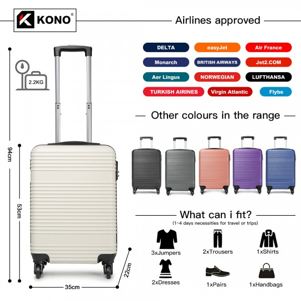 K1996 - KONO ABS HARD SHELL CARRY ON SUITCASE - WHITE