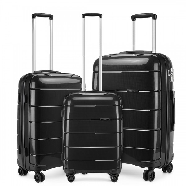 "K1997 - KONO 20-24-28"" HARD SHELL PP SUITCASE SET - BLACK"